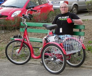 Jacek Halicki with his tricycle