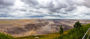 Outlook over the desolate plains of open air strip mining of lignite in Garzweiler